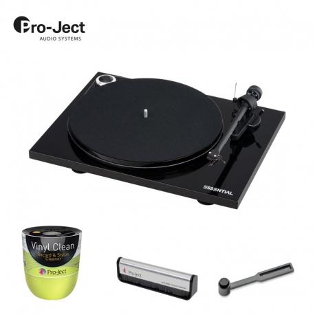 Gramofon Pro-Ject ESSENTIAL III Piano Black + Szczotka do płyt i igły + Żel do płyt