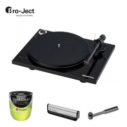 Pro-Ject ESSENTIAL III SB Piano Black  + Szczotka do płyt i igły + Żel do płyt